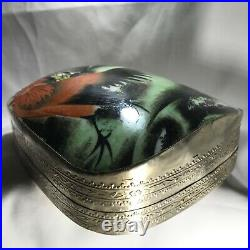 Antique 19th Century Chinese Silver Box with porcelain shard Rooster inlaid 486g