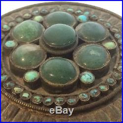Antique 19th Century Chinese Silver Covered Box With Hard stone & Turquoise Bezel