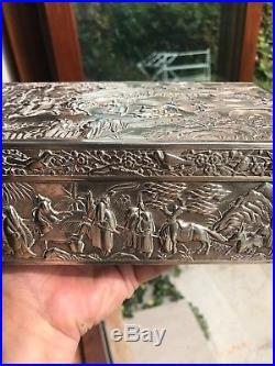 Antique 19th Century Chinese Solid Silver Massive Rare Box 1405 Grams
