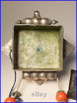 Antique 19thC Chinese Sino-Tibetan Silver Gilt Turquoise Amulet Pendant Gau Box