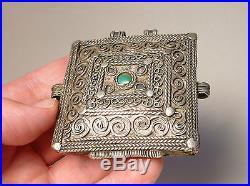 Antique 19thC Chinese Sino-Tibetan Silver Green Gem Amulet Pendant Gau Box
