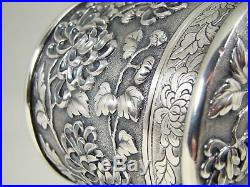 Antique 19thC Chinese Sterling Silver Chrysanthemums Round Box