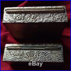 Antique 2 Pcs Chinese Japanese Silver Plated Bronze Snuff Box Jewelery Flower