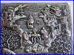 Antique Asian Chinese Export Sterling Silver Repousse Garden Scene Box
