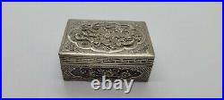 Antique Beautiful Chinese Export Solid Silver Box & Lid, Dragons & Flowers Scene