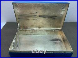 Antique Box Chinese Bone Lady Translucent Blue Enamel Silvered Copper Hinged