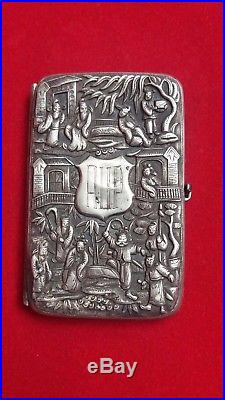 Antique CHINESE SILVER CARD /CIGARETTE CASE Marked