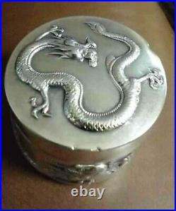Antique CHINESE SILVER TRINKET BOX DRAGON