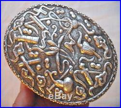 Antique China Silver Plate Eastern Asian MIRROR BOX Chinese Sword on Chased Lid
