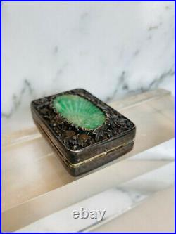 Antique China, hallmarked sterling silver repousse & hand carved A jade compact