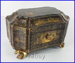 Antique Chinese Black Gilt Silver Gold Lacquered Tea Caddy Sewing Box Bat Feet