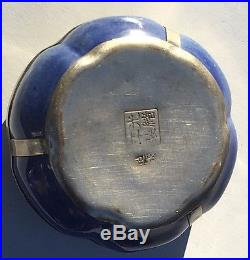 Antique Chinese Blue & White Pumpkin Box with Silver Dragon & Inside Pictographs