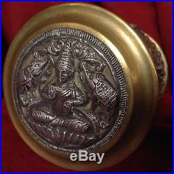 Antique Chinese Buddhist Tibet Silver Bronze Statue Buddha Box Shiva Elephant