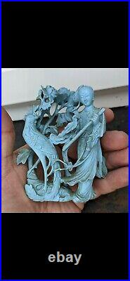 Antique Chinese Carved Turquoise Guanyin Figure & Hardwood Inlaid Silver Stand