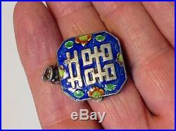 Antique Chinese China silver amulet Oriental pendant enameled box (m1544)