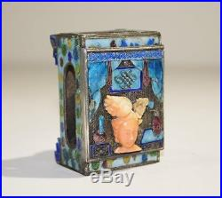 Antique Chinese Coral Carved Face Silver Plated & Blue Enamel Match Box C. 1900