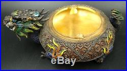Antique Chinese Dragon Tobacco Box with Ashtray Jeweled Jade Silver & Enamel