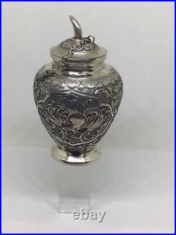 Antique Chinese Eastern Solid Silver Snuff Bottle Box Chased Winged Bird Snail