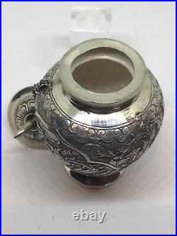 Antique Chinese Eastern Solid Silver Urn Lidded Pot Box Chased Winged Bird Snail