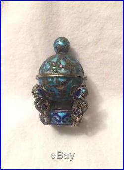Antique Chinese Enamel Filigree Silver Urn Censer Box Gilt Wash Wirework Dragon