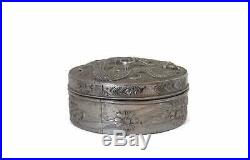Antique Chinese Export Box withRaised Dragon Silver Compact or Pill Box