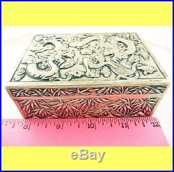 Antique Chinese Export Silver Box Humidor Wang Hing Dragons Bamboo (#5572)