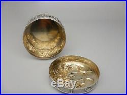 Antique Chinese Export Silver Box Iris & Stork Wo Shing 1880 1900