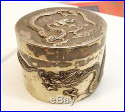 Antique Chinese Export Silver Box Raised Dragon Embossed Jar Signed Chicheong