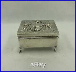 Antique Chinese Export Silver Box with Crane & Iris by WangHing