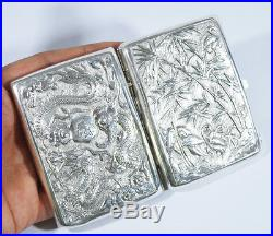 Antique Chinese Export Silver Cigarette Case Box