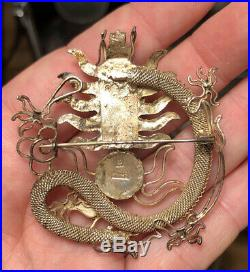 Antique Chinese Export Silver Dragon Pin in Presentation Box