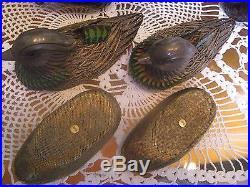 Antique Chinese Export Silver Enamel Filigree Mandarin Ducks Shaped Box