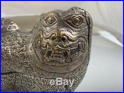Antique Chinese Export Silver Fu Foo Dog Trinket Box Figurine