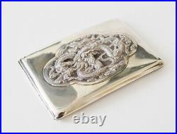 Antique Chinese Export Silver Gigarette Case Box Card Dragon China Qing Dynasty