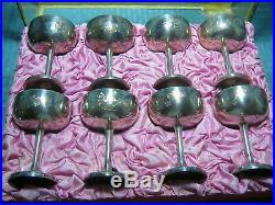 Antique Chinese Export Silver Plated Goblet Set Of 8 Withbox