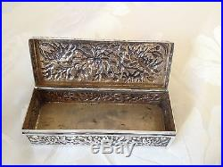Antique Chinese Export Silver Rectangular Trinket Box by Hung Chong