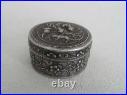 Antique Chinese Export Silver Repoussed Round Box / Container