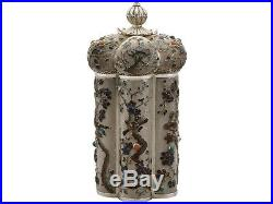 Antique Chinese Export Silver and Enamel Box Canister Circa 1900