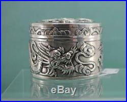 Antique Chinese Export Silver round Box WH 90 Dragon Decoration 6 cm X 4.5