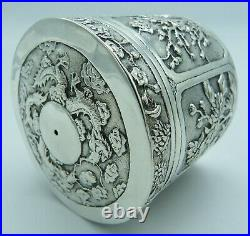 Antique Chinese Export Solid Silver String Box Dragons Bamboo Birds Blossom