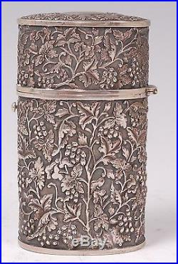 Antique Chinese Export Solid Silver Tea Canister/Caddy c. 1890