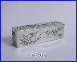 Antique Chinese Export Sterling Silver Trinket Box Mark Hc