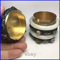 Antique Chinese Export filigree silver can with two Jadeite bangle