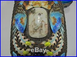 Antique Chinese Export filigree silver & enamel box # CS32