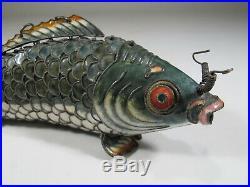 Antique Chinese Export filigree silver & enamel fish # CS46