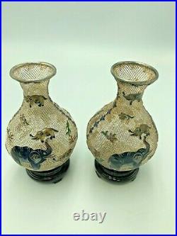 Antique Chinese Export filigree silver & enamel vases Elephant marked 925 Boxed