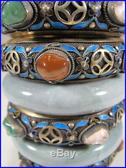 Antique Chinese Export filigree silver, jade & enamel box # CS131