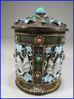 Antique Chinese Export filigree silver, jade & enamel box # CS22