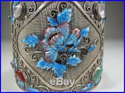 Antique Chinese Export filigree silver, jade & enamel box # CS31