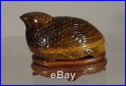 Antique Chinese Finely Carved Covered Tigers Eye Bird Box Silver Inlaid Stand